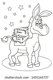 Coloring page outline of cartoon cute little donkey. Vector illustration, coloring book for kids.