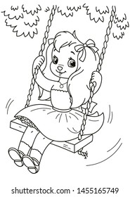 Coloring page outline of cartoon cute little dog girl rides on a swing . Vector illustration, summer coloring book for kids.