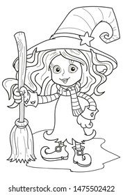 Coloring page outline of cartoon cute little girl witch, Halloween. Colorful vector illustration, holidays coloring book for kids.