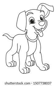 Coloring page outline of cartoon cute little dog. Colorful vector illustration, school coloring book for kids.