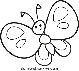 Coloring page outline of cartoon cute butterfly. Vector illustration, coloring book for kids.