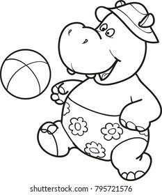 Coloring page outline of cartoon cute hippo plays football. Vector illustration, sport coloring book for kids.