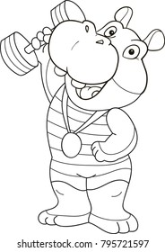 Coloring page outline of cartoon cute hippo. Vector illustration, sport coloring book for kids.