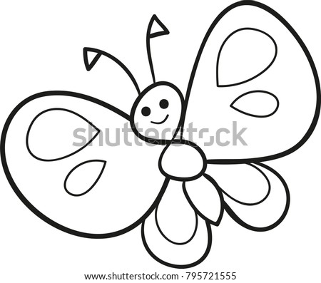 Coloring Page Outline Cartoon Cute Butterfly Stock Vektorgrafik