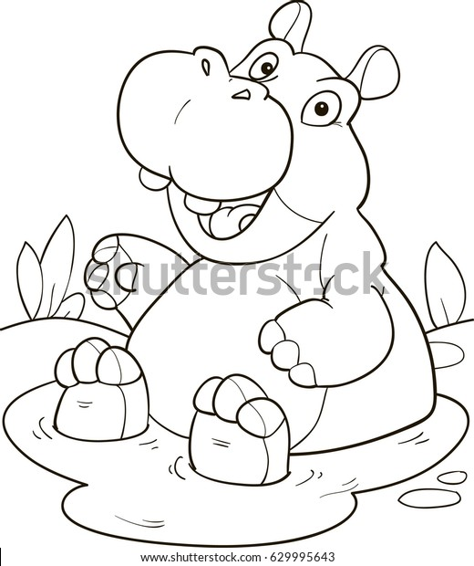 Coloring Page Outline Cartoon Cute Hippo Stock Vector