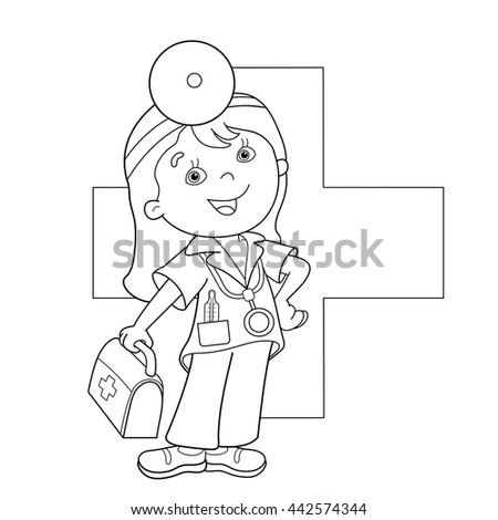 Coloring Page Outline Of Cartoon Doctor With First Aid Kit Profession Medicine