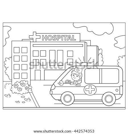 Coloring Page Outline Cartoon Doctor Ambulance Vector de stock ...