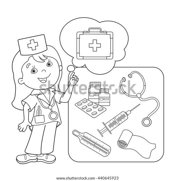 Coloring Page Outline Cartoon Doctor First Stock Vector (Royalty Free)  440645923