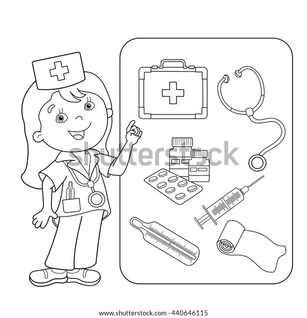 Coloring Page Outline Of Cartoon Doctor With First Aid Kit ... | 620x600