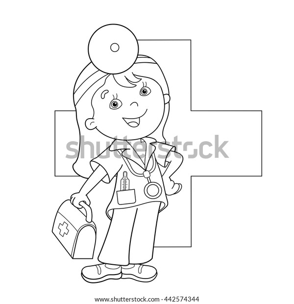 Coloring Page Outline Cartoon Doctor First Stock Vector (Royalty Free)  442574344