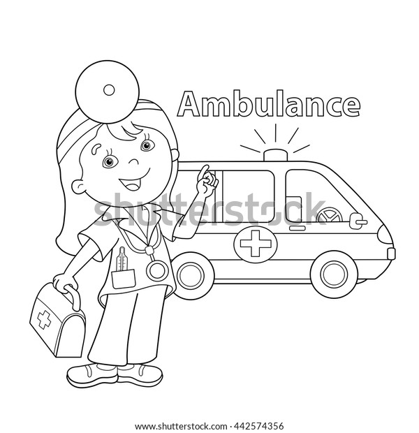 Coloring Page Outline Cartoon Doctor First Stock Vector (Royalty Free)  442574356