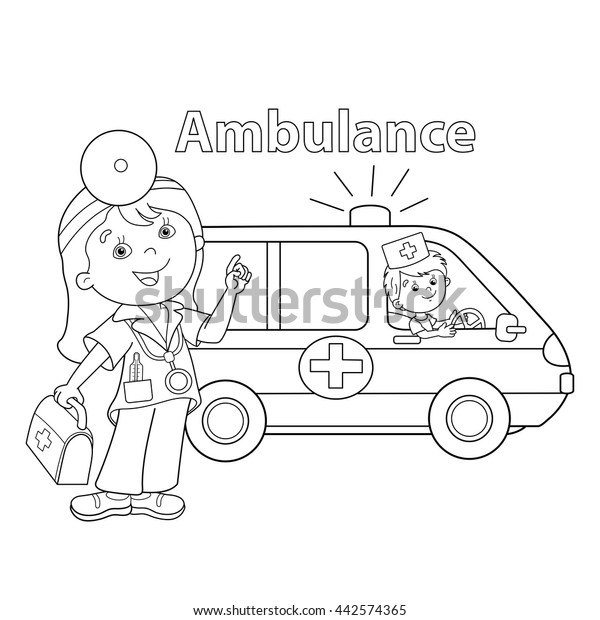 Coloring Page Outline Cartoon Doctor First Stock Vector (Royalty Free)  442574365