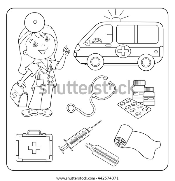 Coloring Page Outline Cartoon Doctor First Stock Vector (Royalty Free)  442574371
