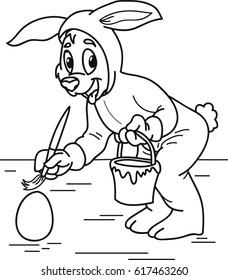 Coloring page outline of cartoon dog in costume easter bunny painting an egg. Vector illustration, coloring book for kids.