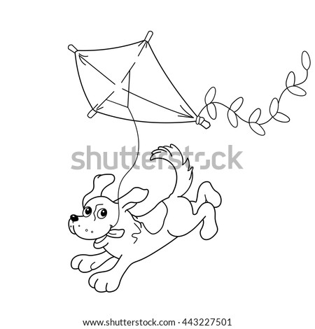 Coloring Page Outline Cartoon Dog Kite Stock Vector Royalty Free