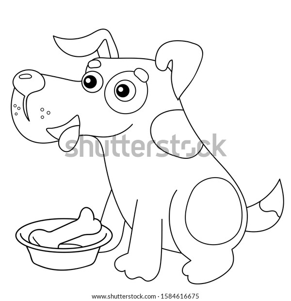 Coloring Page Outline Cartoon Dog Bone Stock Vector Royalty Free 1584616675