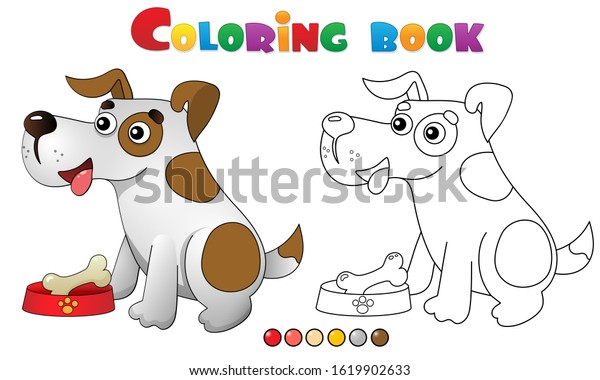 Coloring Page Outline Cartoon Dog Bone Stock Vector Royalty Free 1619902633