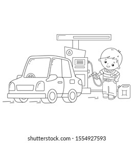 Coloring Page Outline Of cartoon driver with car on petrol station. Images transport or vehicle for children. Coloring book for kids.