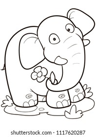 Coloring page outline of cartoon elephant. Vector illustration, summer coloring book for kids.