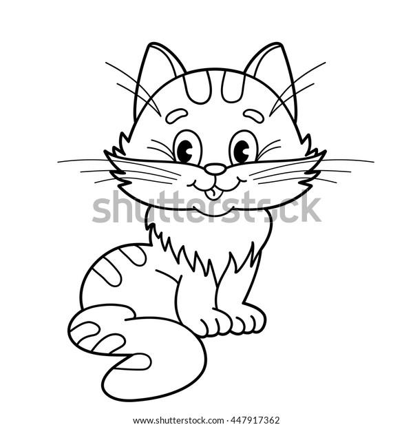 Vektor Stok Mewarnai Halaman Garis Dari Kartun Kucing Tanpa Royalti 447917362