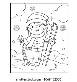 Coloring Page Outline Cartoon Girl Skating Stock Vector Royalty