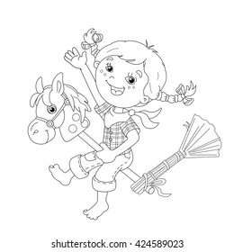 Coloring Page Outline Of cartoon Girl playing cowboy with toy horse. Coloring book for kids