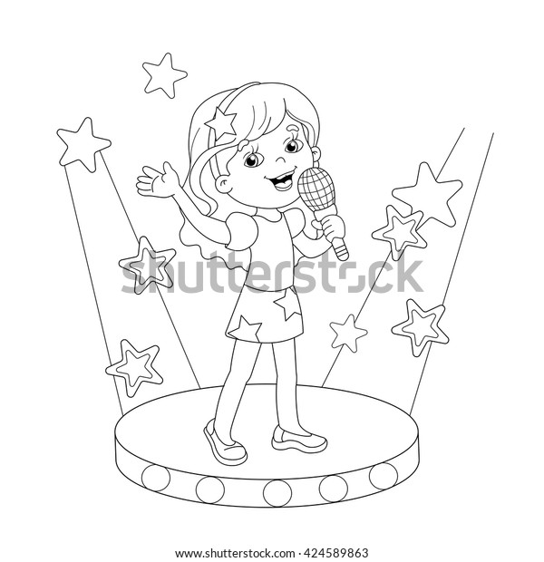 Coloring Page Outline Cartoon Girl Singing Stock Vector