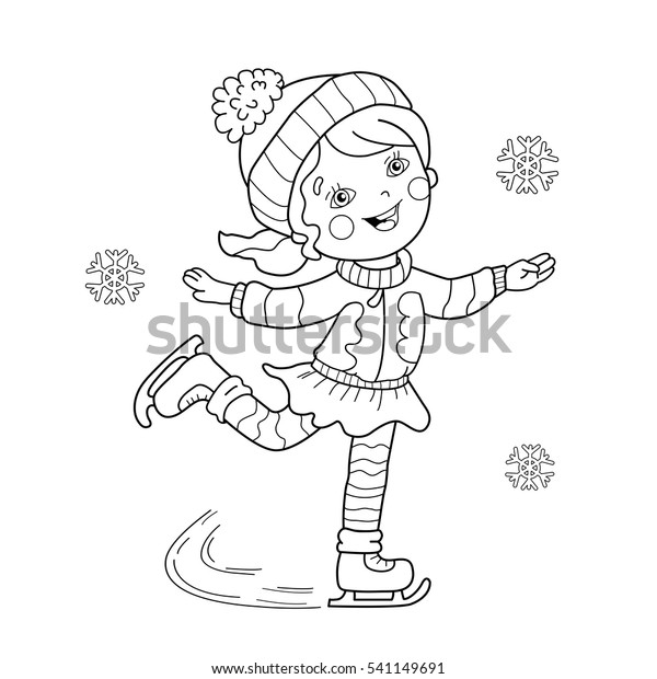 Coloring Page Outline Cartoon Girl Skating Stock ...