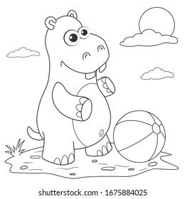 Coloring page outline of cartoon hippo on lawn with ball. Page for coloring book of funny hippo for kids. Activity colorless picture of cute animals. Anti-stress page for child. Vector illustration.