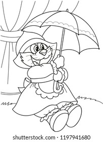 coloring page outline cartoon kitten 260nw