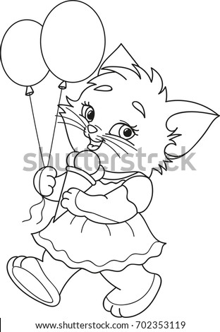 Coloring Page Outline Cartoon Kitten Ice Stock Vector Royalty Free
