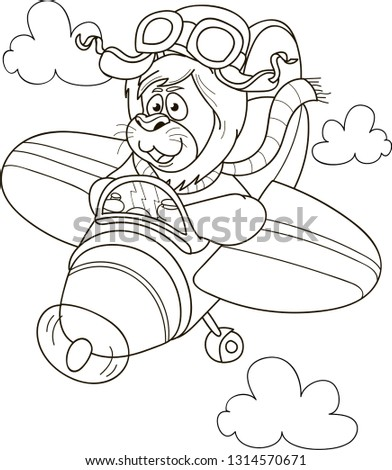 Coloring Page Outline Cartoon Lion Pilots Stock Vector Royalty Free