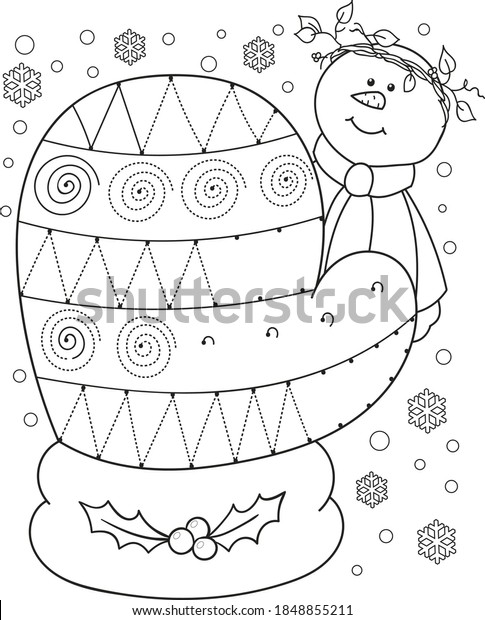Coloring Page Outline Cartoon Mitten Educational Stock Vector (Royalty  Free) 1848855211