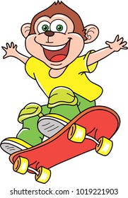 Coloring page outline of cartoon monkey on skateboard. Colorful vector illustration, sport coloring book for kids.