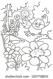 Coloring page outline of cartoon plants, flowers and a bird in the garden. Vector illustration, coloring book for kids, Russian folk tale.
