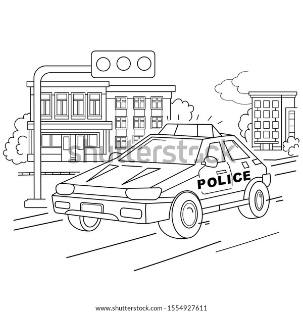 Coloring Page Outline Cartoon Police Car Stock Vector Royalty Free 1554927611