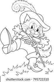 Coloring page outline of cartoon puss in boots. Vector illustration, coloring book for kids.