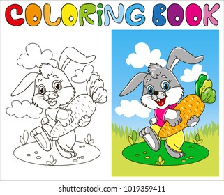 coloring page outline cartoon rabbit 260nw