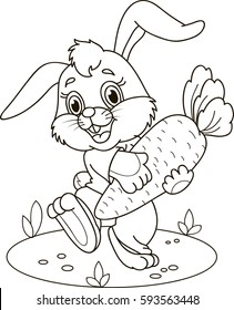 Coloring page outline of cartoon rabbit with carrot. Vector illustration, coloring book for kids.