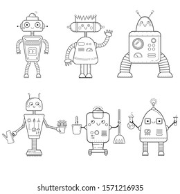Coloring page outline of cartoon robots . Vector set on white background. Coloring book for kids.