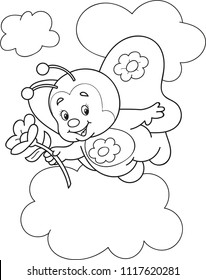 Coloring page outline of cartoon smiling bee with a flower. Vector illustration, summer coloring book for kids.