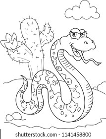 Coloring page outline of cartoon smiling snake in the desert. Vector illustration, summer coloring book for kids.