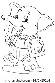 Coloring page outline of cartoon smiling elephant with ice cream. Colorful vector illustration, school coloring book for kids.