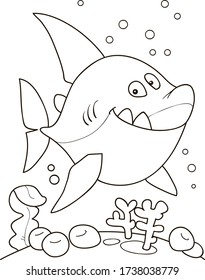 Coloring page outline of cartoon smiling fish, shark. Colorful vector illustration, summer coloring book for kids.