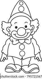 Coloring page outline of cartoon smiling clown. Vector illustration, coloring book for kids.