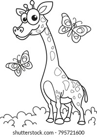 Coloring page outline of cartoon smiling giraffe with butterflies. Vector illustration, coloring book for kids.