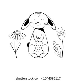 Coloring page outline of cartoon sweet rabbit. School coloring book for children. Colorful vector illustratio.