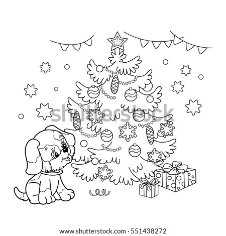 Coloring Page Outline Of Christmas Tree With Ornaments And Gifts Puppy The Year
