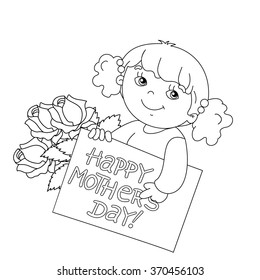 happy birthday 14 images stock photos vectors shutterstock 14th Birthday Bike coloring page outline of cute girl with a card for mother s day with a bouquet of