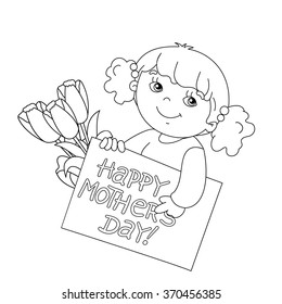 Coloring page outline of Cute girl with a card for Mother's Day with a bouquet of tulips